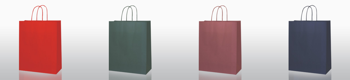 sacs en papier neutres: Rouge, Vert Foncé, Bordeaux, Bleu Foncé
