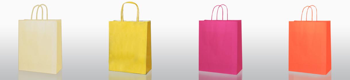 sacs en papier neutres: Beige, Jaune, Fuschia, Orange