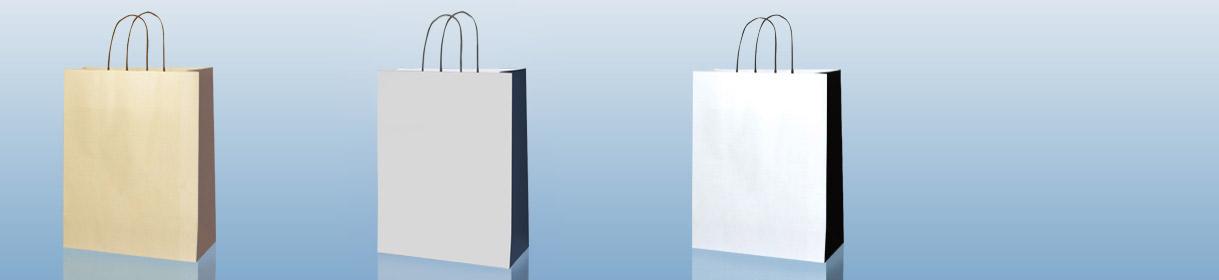 sacs en papier neutres: Bicolore Beige avec soufflet Marron, Gris avec Soufflet Bleu Foncé et Blanc avec soufflet Noir