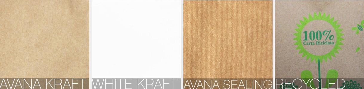 sacs en papier neutres: Papiers Kraft Havane, Kraft Blanc, Havane vergé et recyclé