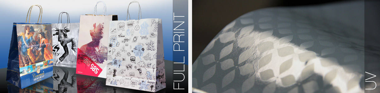 Sacs en Papier avec Poignées Torsadées: impression aplat total et UV